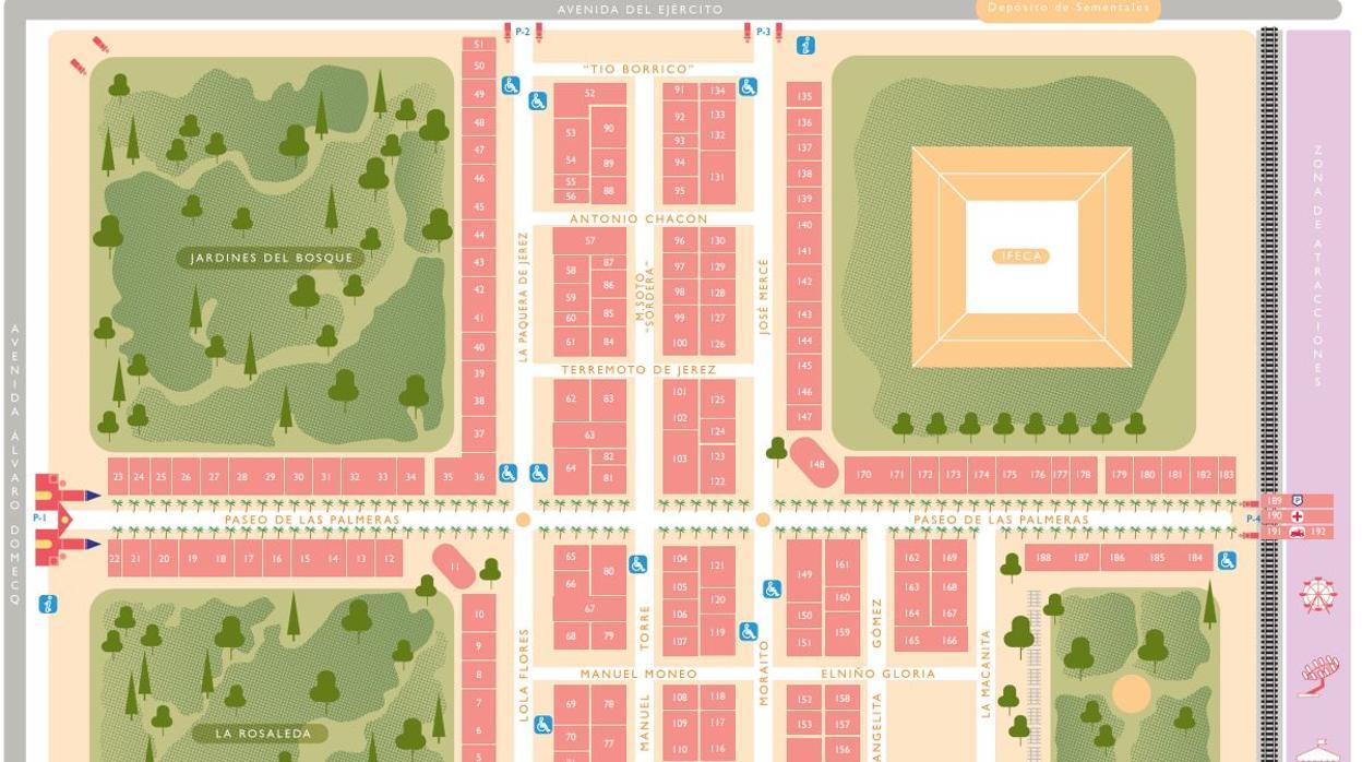 Mapa Feria Sevilla 2019.Mapa Y Plano De La Feria De Jerez 2019 Las Casetas Una A Una