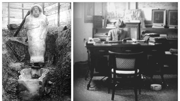A la izquierda, el sarcófago fenicio masculino el día de su descubrimiento; a la derecha, el conocido arquitecto Pelayo Quintero.