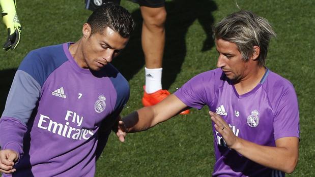 Cristiano y Coentrao, en un entrenamiento del Real Madrid