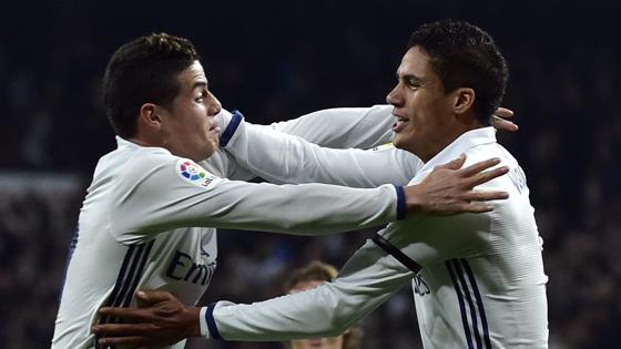 James y Varane, goleadores en el primer tiempo