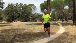 Cristiano Ronaldo, corriendo ayer por Madrid