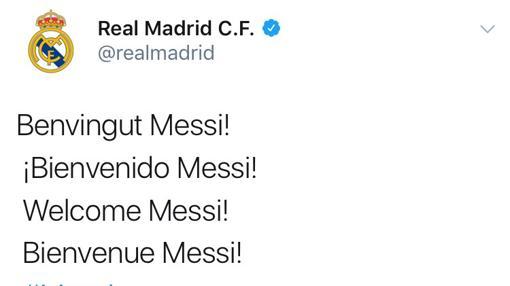 Tweet del Real Madrid dándole la bienvenida a Leo Messi