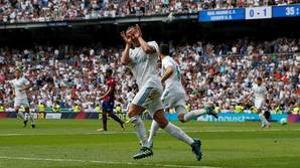 Lucas Vázquez celebra su gol en el último partido de Liga ante el Levante