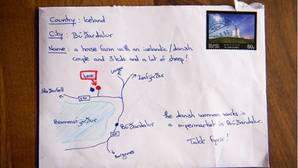 Desesperado por no saber una dirección dibuja un mapa en una carta y esta llega a su destino
