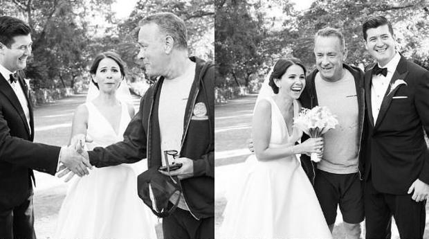 Imagen del momento en el que Tom Hanks se presentó a la pareja de prometidos