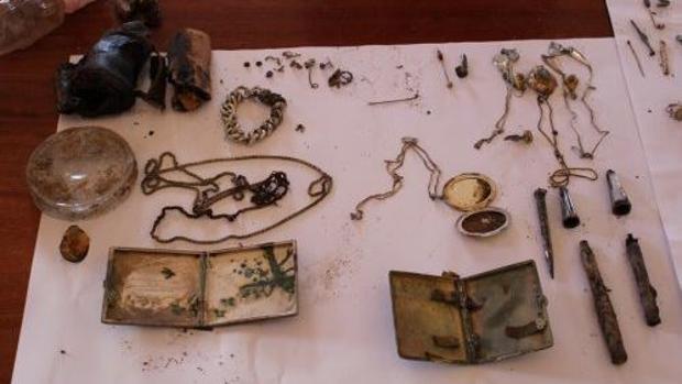Vista parcial del tesoro encontrado en Lubomierz