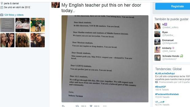 La carta fue subida a Twitter por una de sus alumnas