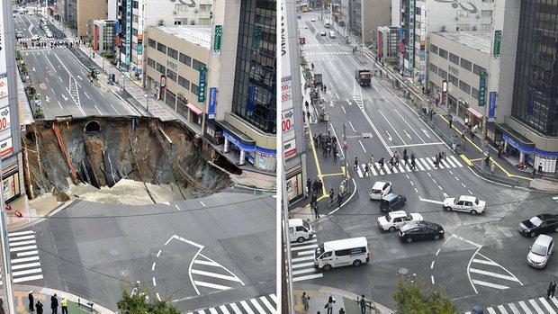 A la izquierda, el socavón original. A la derecha, la calle tras su reparación