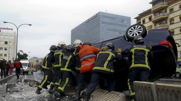 Foto de archivo de accidente de trafico