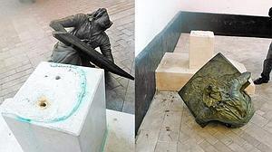 Tiran al suelo el monumento a Machado cuatro meses después de instalarse en Dueñas