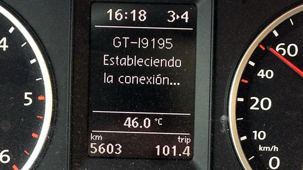 Termómetro en el interior de un vehículo este lunes