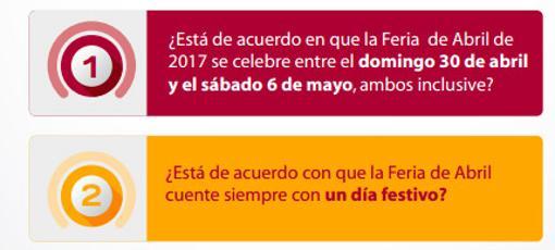 Las preguntas que se formulan en el referéndum sobre la Feria de Abril de Sevilla