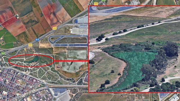 Montaje con fotos de satélite de la laguna del parque del Tamarguillo próxima al aeropuerto de Sevilla