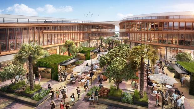 El futuro centro comercial estará ubicado en los dos podios a los pies de la Torre Sevilla