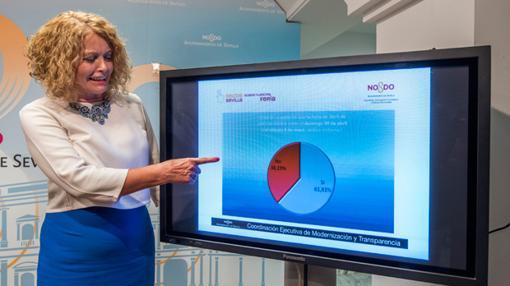 Carmen Casteño durante la presentación de los resultados