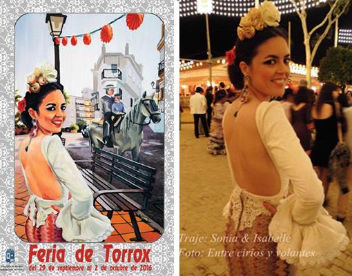 A la izquierda, cartel de la Feria de Torrox; a la derecha foto de Claudia Alfaro