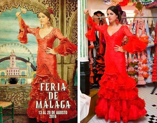 A la izquierda, cartel (no oficial) de la Feria de Málaga; a la derecha foto de Claudia Alfaro