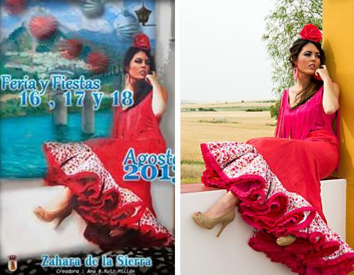 A la izquierda, cartel de la Feria Zahara de la Sierra; a la derecha foto de Claudia Alfaro