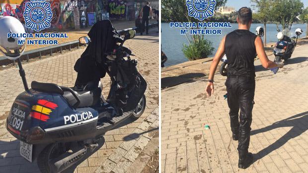 En las imágenes el polícía que se tiró a socorrer a la mujer y la moto donde depositó su ropa mojada