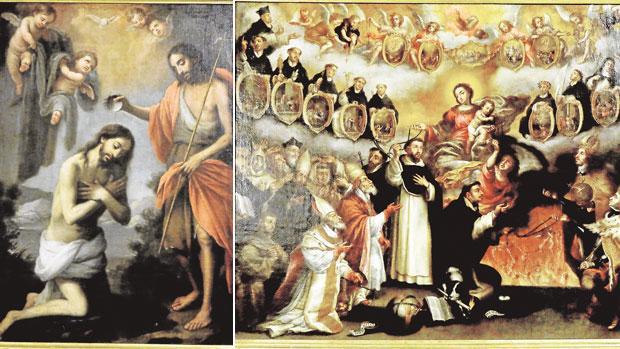 «Bautismo de Cristo» y «Virgen del Rosario protegiendo a la orden dominica»