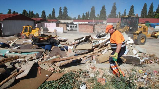 Operarios de Lipasam acometieron este pasado septiembre el derribo de chabolas en mal estado en el Vacie