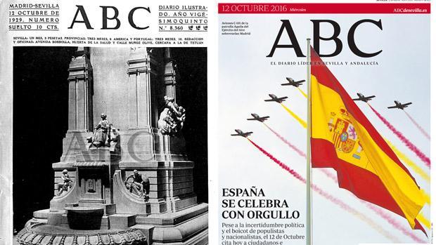 La primera portada de ABC de Sevilla y la de este 12 de octubre. 87 años han pasado desde entonces