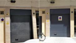 A la izquierda, el vado pegado a la pared a 54 centímetros de la puerta a la que afecta. En la otra imagen aparece la señal instalada correctamenteABC
