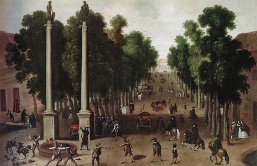 Óleo que plasma la vida en la Alameda de Hércules a mediados del XVII (Anónimo, 1650)