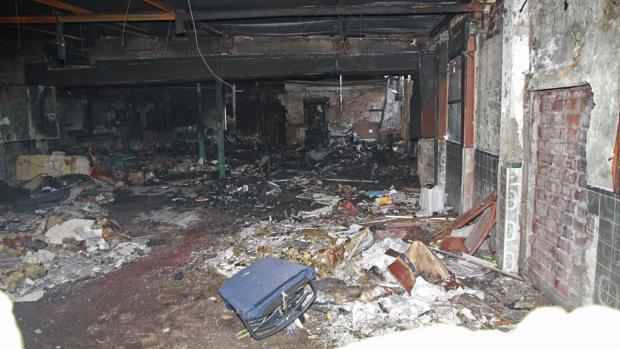 Así quedó el local donde fue torturada y asesinada la víctima tras el incendio