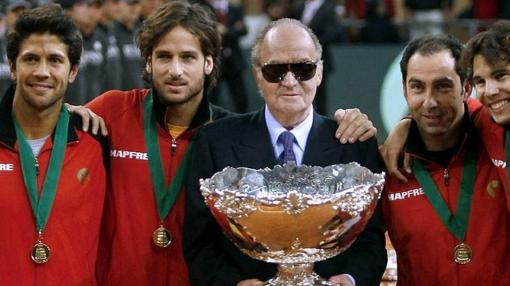 Don Juan Carlos, en la final de la Copa Davis en Sevilla