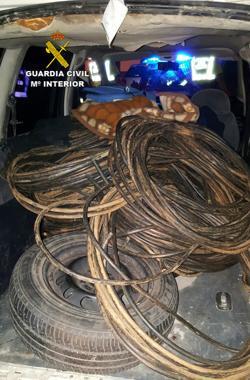 El cobre recuperado por la Guardia Civil en una operación en Sevilla