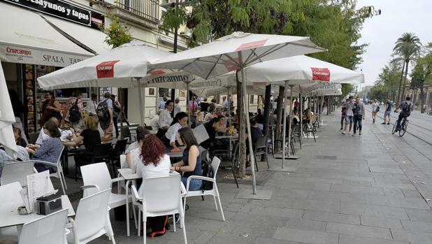 Veladores, sombrillas y carteles en la calle San Fernando