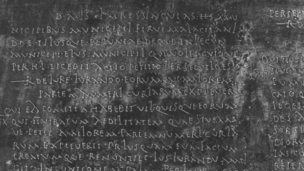 Detalle del texto de una ley romana