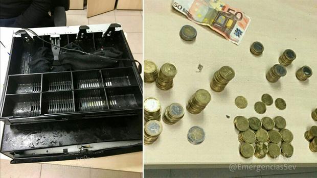 La caja registradora y el dinero recuperados de un bar de la calle Argote de Molina