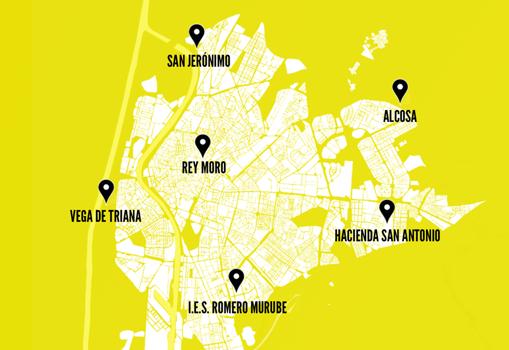 Mapa de los huertos urbanos con iluminación navideña