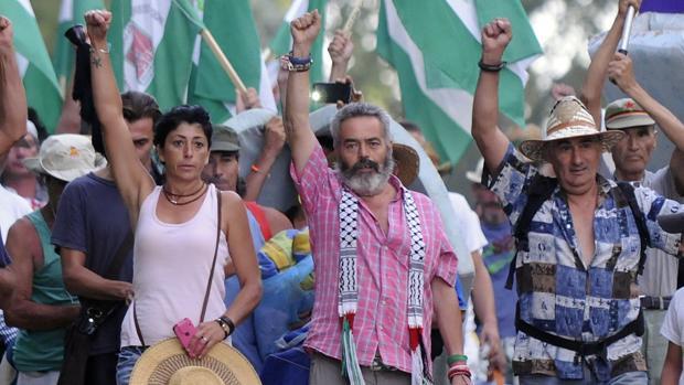 Juan Manuel Sánchez Gordillo durante una movilización jornalera