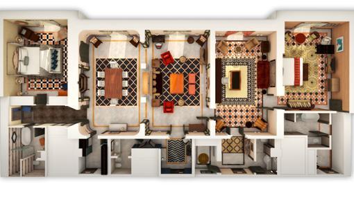 Distribución de la suite real del Hotel Alfonso XIII de Sevilla