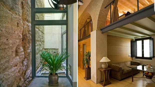 Dos vistas diferentes de la parte de la muralla almohade de Sevilla integradas en viviendas del Arenal