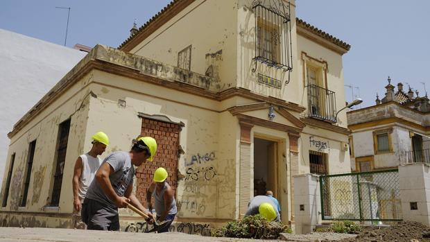 Obras en los alrededores de Villa Julita, en Nervión