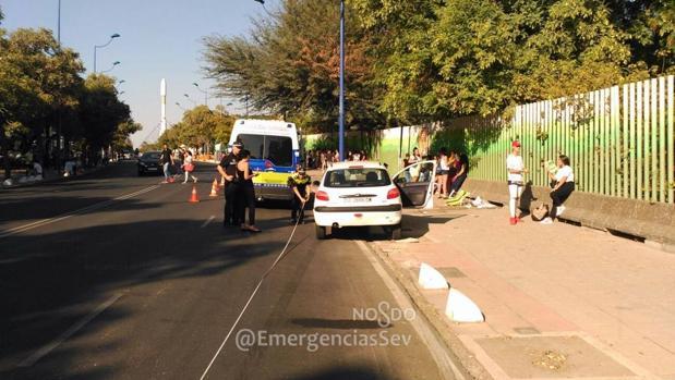 La Policía Local, en el lugar del accidente que dejó un herido leve