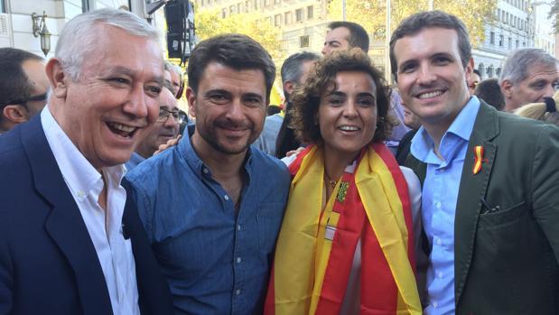 Javier Arenas, Beltrán Pérez, Dolors Montserrat y Pablo Casado en Barcelona