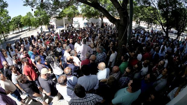 Una de las últimas protestas del colectivo de taxistas en Sevilla, durante el mes de agosto