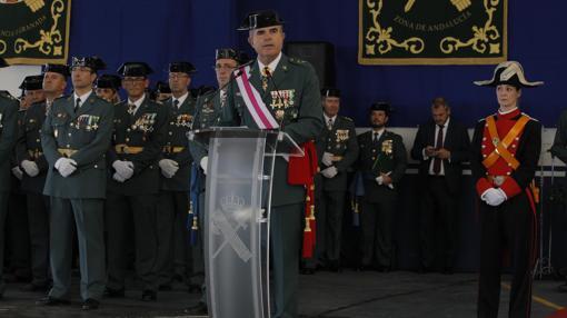 El general jefe de la IV Zona de la Guardia Civil durante su discurso