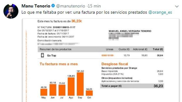 Captura del tuit borrado de Manu Tenorio