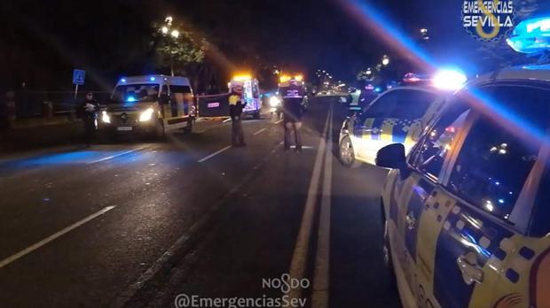Policía Local y servicios sanitarios en la Avenida de María Luisa