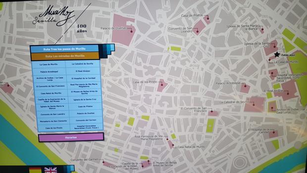 El mapa de Murillo con todos los lugares en los que hay obras del pintor en la ciudad