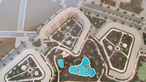 Maqueta del nuevo barrio de la Hacienda del Rosario, en la zona Este de Sevilla