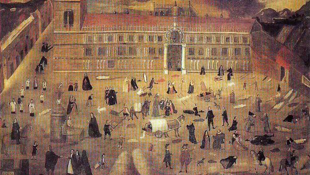 «La peste de 1649», obra anónima, en la que puede verse el Hospital de la Sangre, más tarde de las Cinco Llagas, donde se instaló un lazareto exterior para atender a los apestados