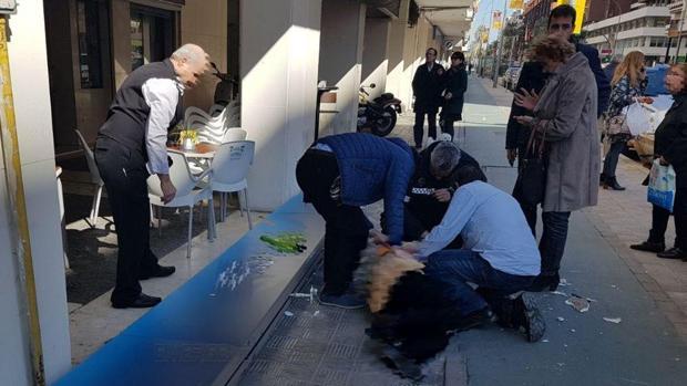 La mujer en el suelo tras sel golpeada por un cartel publicitario