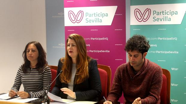 Los tres concejales de la formación, Susana Serrano, Cristina Honorato y Julián Moreno
